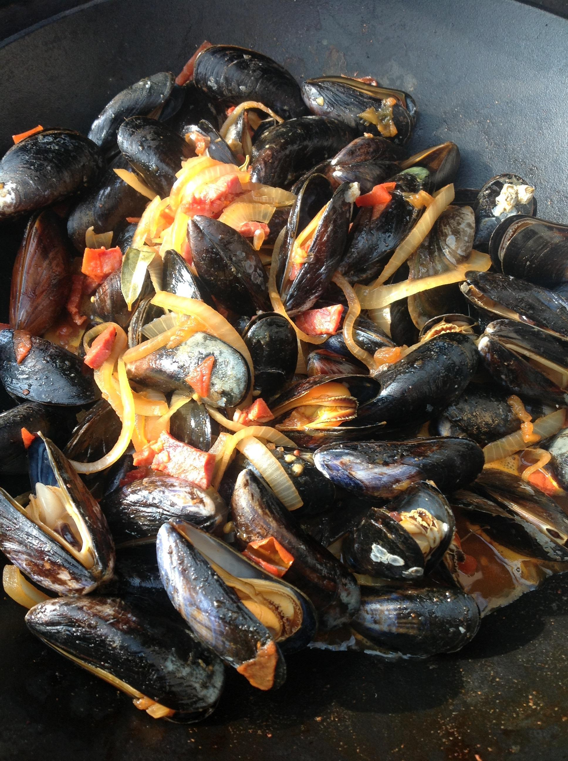 Chorizo Mussels on the BBQ