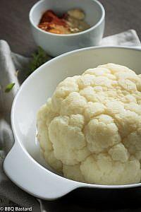 Spicy fresh cheese marinated cauliflower
