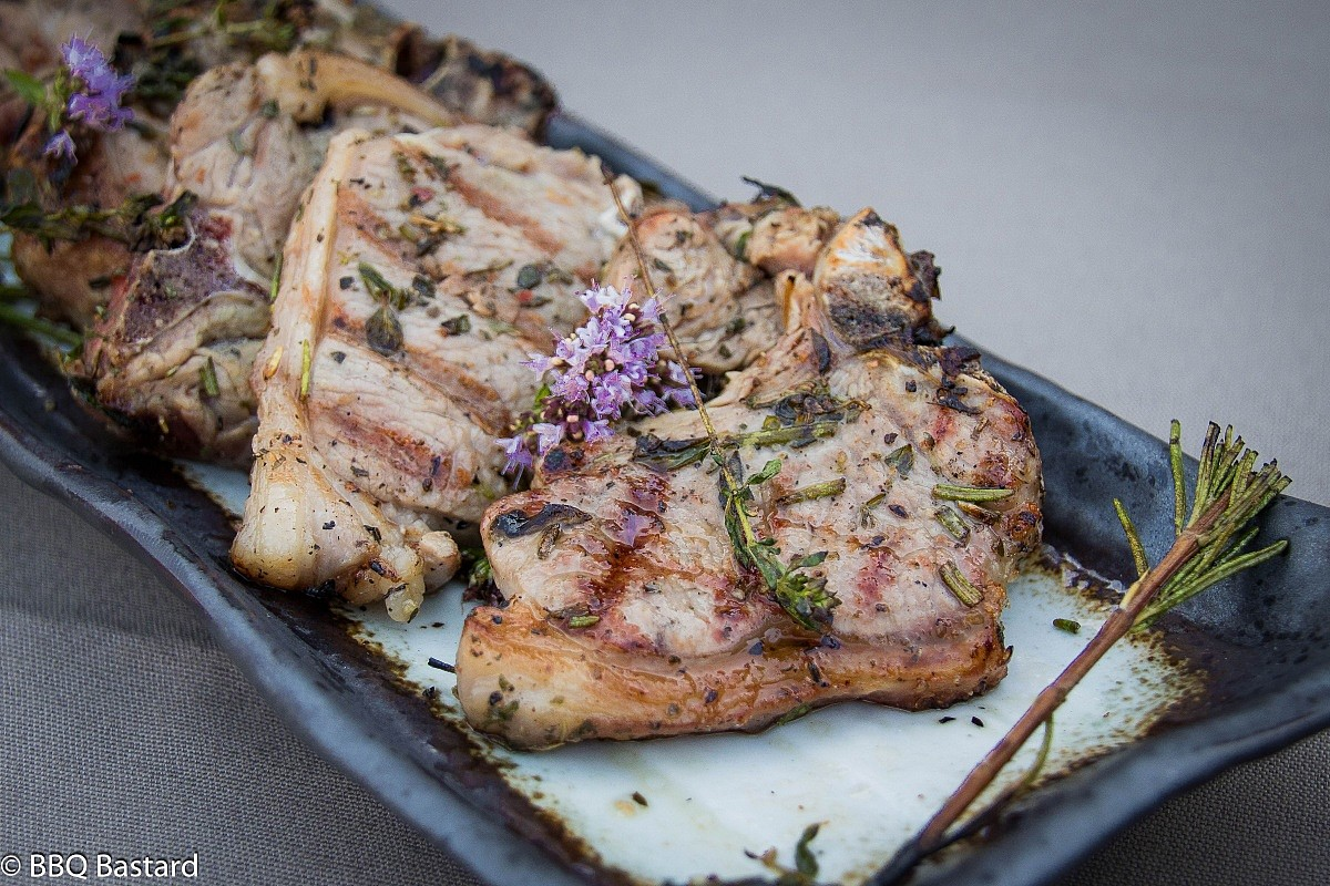 Grilled provencal Lamb Chops with Eggplant