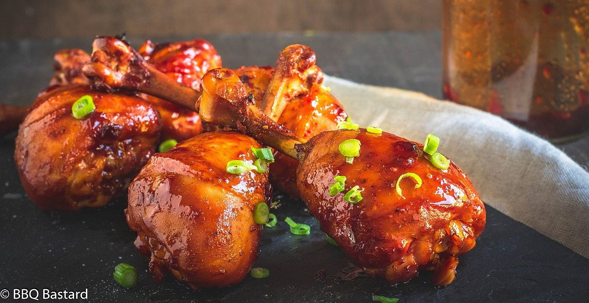 Sweet cherry chicken lollipops – Rum Smoked