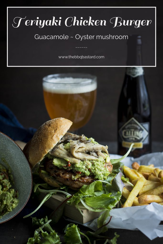 @TheBBQBastard presents his homemade Teriyaki chicken burgers topped with fresh guacamole and oyster mushrooms. Straight from the BBQ to food heaven. For those who are looking for healthy recipes to celebrate summer this barbecue burgers are the go to recipe!