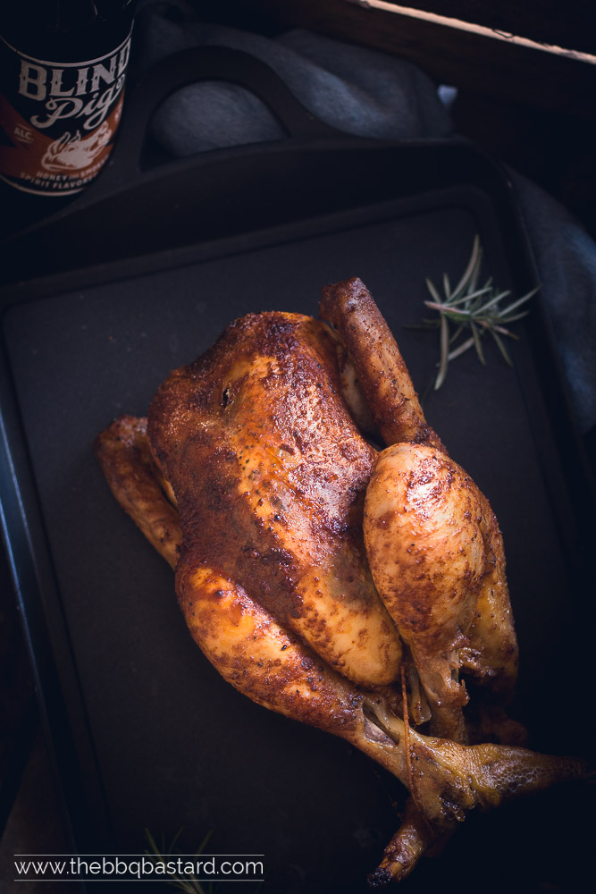 Cider brined spitroast chicken