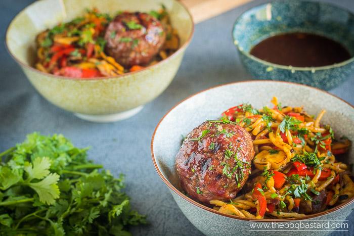 BBQ Stir fried Vietnamese Meatballs Noodle Salad