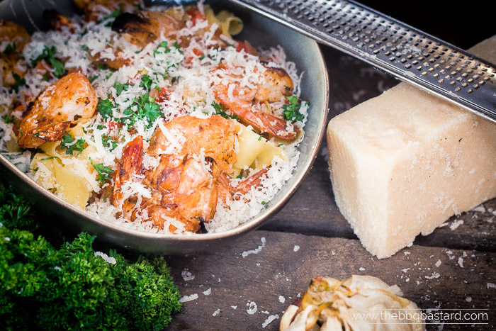 Pasta con Scampi alla Griglia – Smoked Garlic Shrimp Pasta