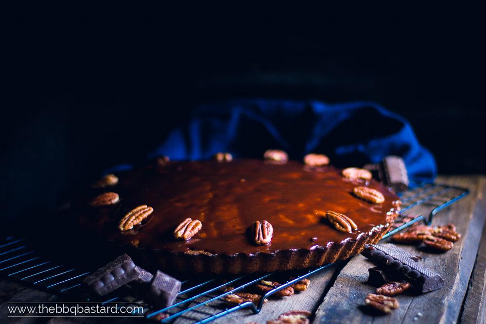 Smoked chocolate Pecan Mud Cake with Guinness