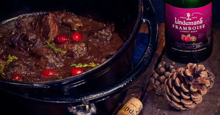 Grilled venison cheeks Stew with Raspberry beer
