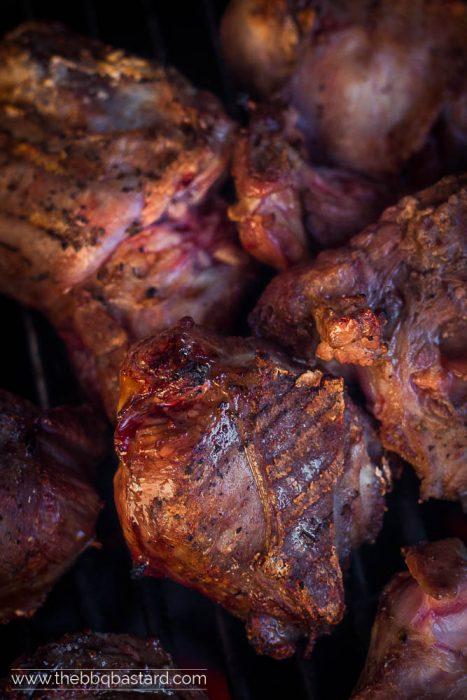 Grilled venison cheeks stew