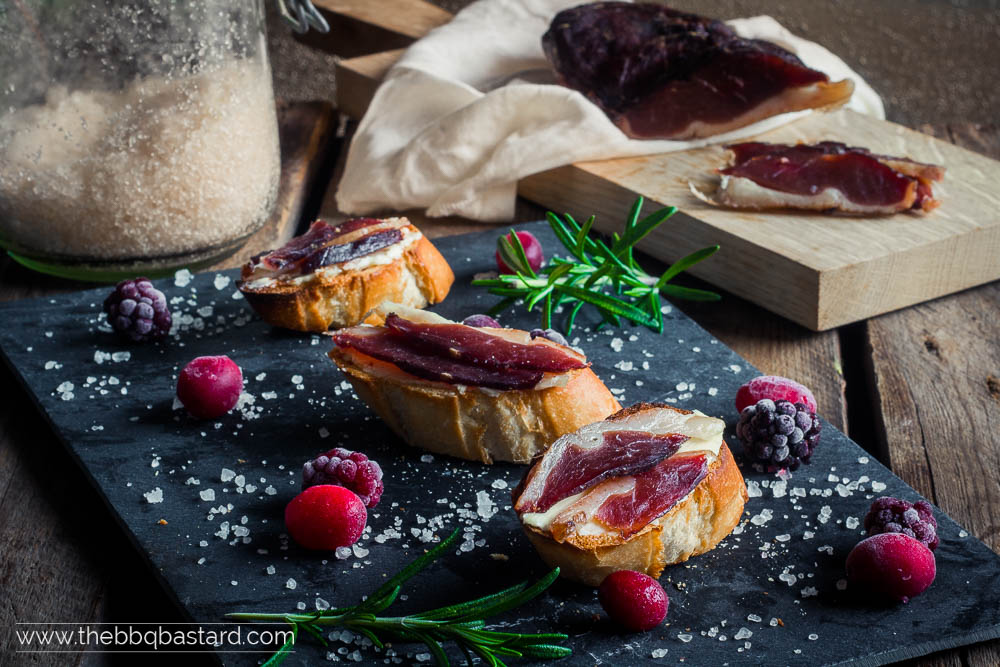Smokey duck prosciutto – Cured in Berry flavored salt