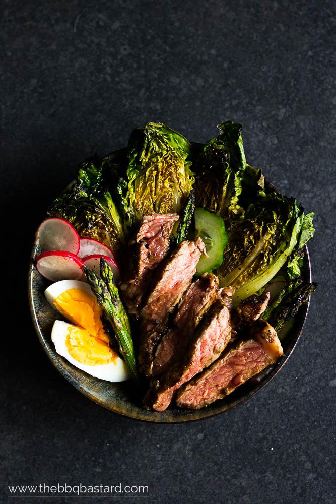 Grilled rib eye salad