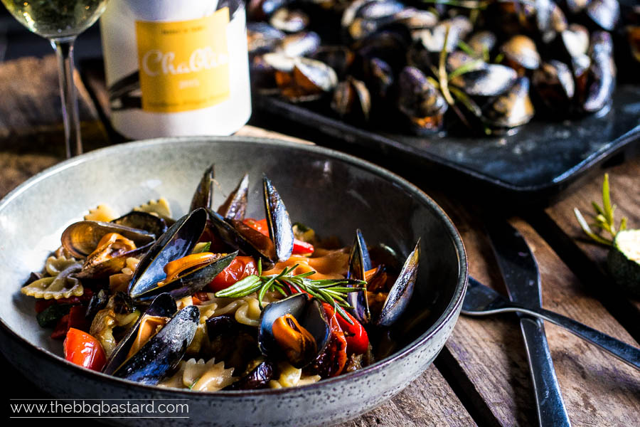 Pernod flambéed mussels with pasta