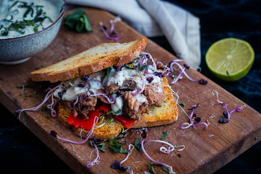 Pulled Lamb Sandwich – Greek style