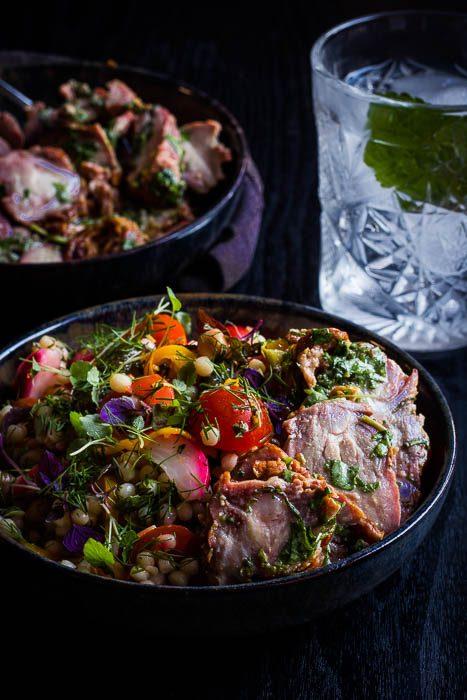 geitentongetjes met perzische salade