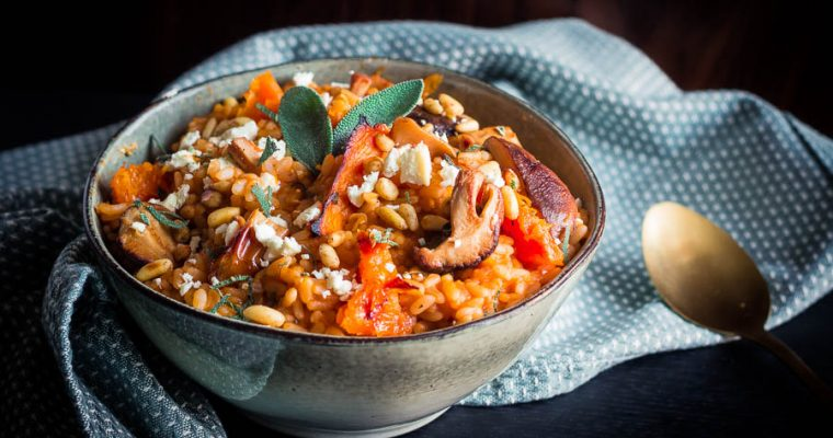 Roasted Butternut Risotto met gerookte Feta