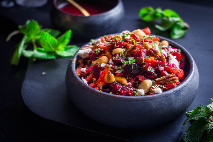 Salade van rode biet met citrusvruchten