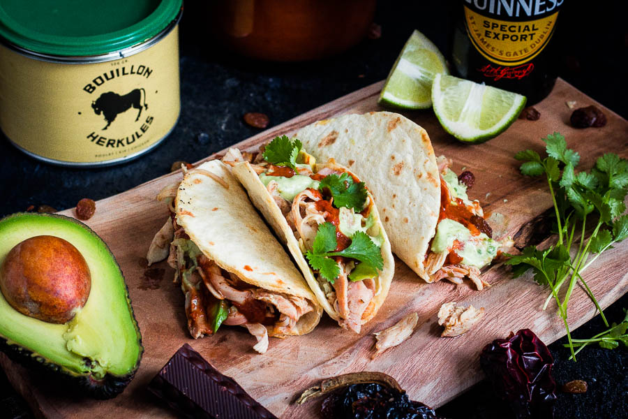 Pulled Chicken Taco – stout beer mole
