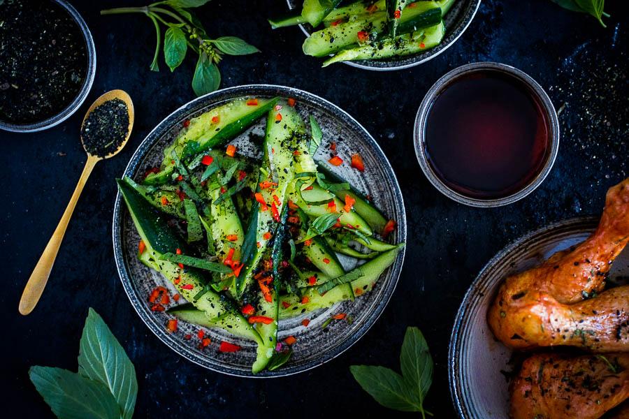 Salade van geplette komkommers – California dreamin'