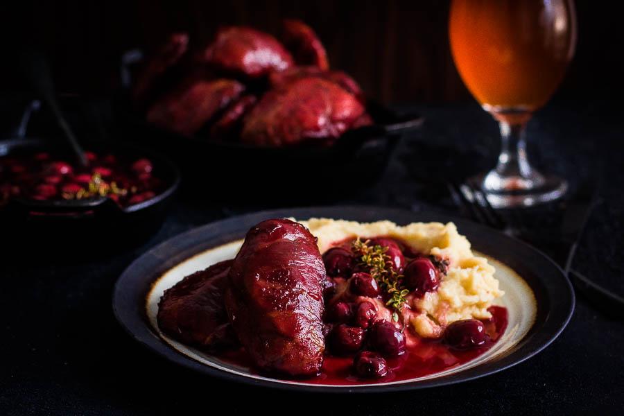 Cherry beer Pork Cheeks #Traegerday celebrations