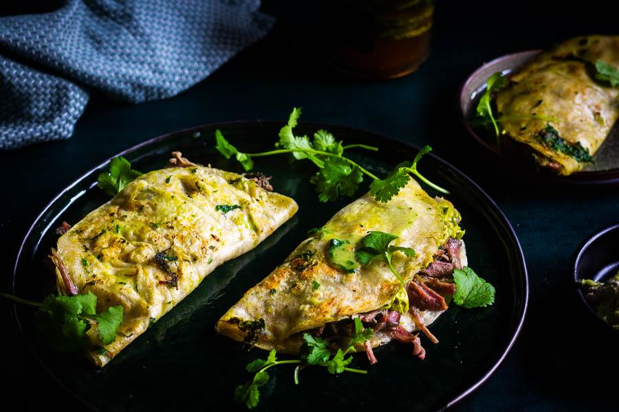 Hulk Taco – Birria style pulled turkey taco