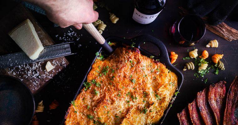 Pompoen Mac and Cheese van de BBQ